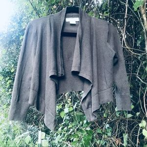 Michael Kors 3/4 Sleeve Cropped Olive Cardigan